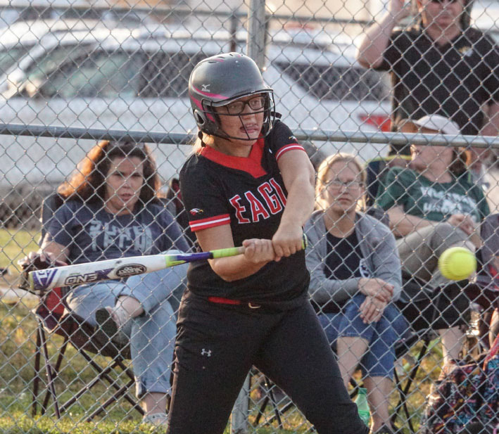 LADY EAGLES DIAL IN AT WESTRAN-Kaitlin Campbell zeros in on a pitch during a 14-9 Knox County softball win at Westran. Campbell had three hits and drove in four runs. Photo by David Sharp