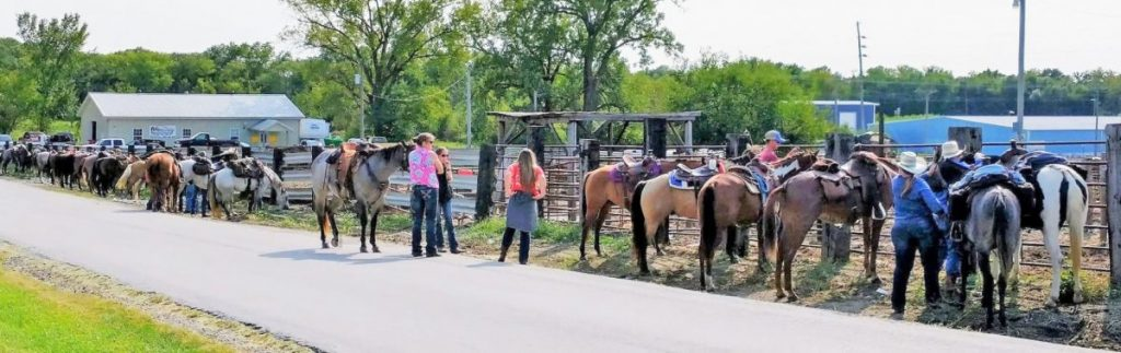 Ride for Brynleigh Hamlin - Horses are shown lining the street in front of the Edina Sale Barn on Saturday, September 19, 2020 ahead of a ride to raise money to help support the family of Brynleigh Hamlin. Hamlin's mother Shania Ewalt and father Travis Hamlin have been helping their daughter battle a battery of illness for over a year. This fundraiser and Horse Raffle was spearheaded by Darlene Bryant of Knox County. Photos submitted