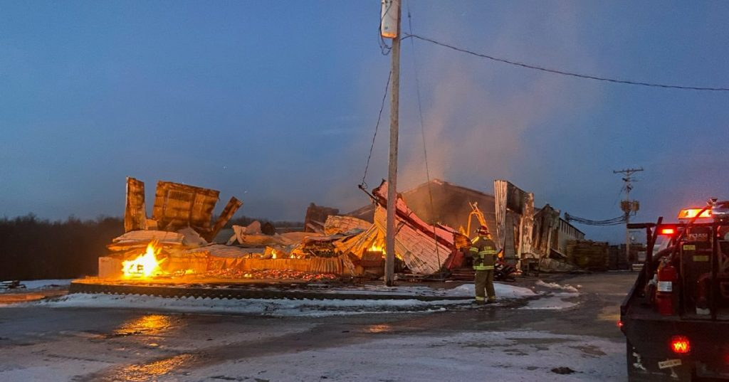 A building housing the stave mill and the barrel ends area at Cardwell Lumber approximately five miles south of Edina burned to the ground on February 16. Leroy Cardwell vowed to rebuild and rebuild he did. Photo submitted