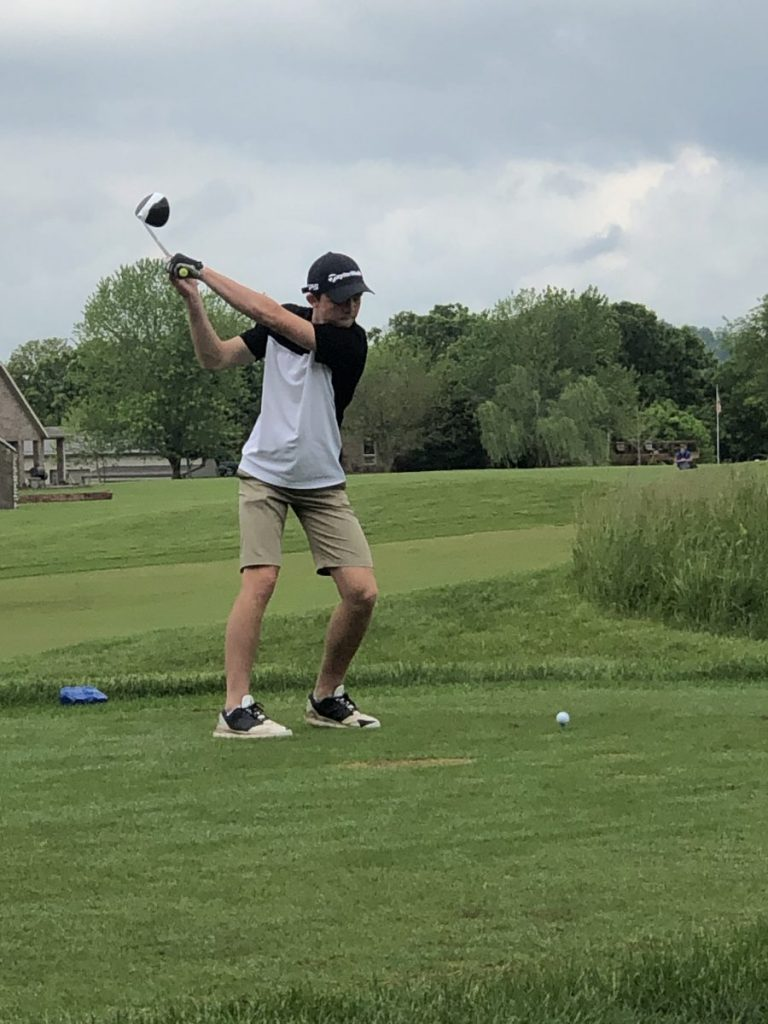 HIGHLAND JUNIOR PLAYS IN CLASS 2 GOLF CHAMPIONSHIPS-Kyle Benson is shown teeing off during the 2021 Class 2 MSHSAA Golf Championships at Bolivar, Missouri. Benson carded a two-day total of 197, good for 54th overall in Boys Class 2 golf. Submitted Photo from the Benson family.