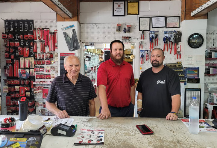 Larry Hayes (left) turned over ownership of his auto parts store in Edina to to Chaz Boatman (center). The two are shown with the Edina Auto Parts Manager Jesse Sparks (right). The store is located south of Citizens Bank of Edina on East Morgan Street and South Main Street. Photo by Echo Menges